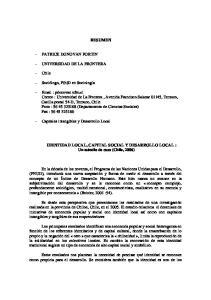 RESUMEN. IDENTIDAD LOCAL, CAPITAL SOCIAL Y DESARROLLO LOCAL : Un estudio de caso (Chile, 2006)