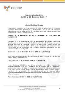 Resumen Legislativo Del 05 al 13 de enero de 2017
