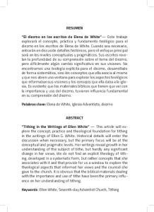 RESUMEN. Palabras clave: Elena de White, Iglesia Adventista, diezmo ABSTRACT