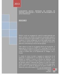 RESUMEN SANEAMIENTO ENACAL: PROGRAMA DE CONTROL DE VERTIDOS INDUSTRIALES Y PLANTAS DE TRATAMIENTO DE AGUAS RESIDUALES