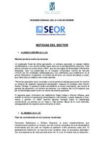RESUMEN SEMANAL DEL 8-14 DE NOVIEMBRE NOTICIAS DEL SECTOR