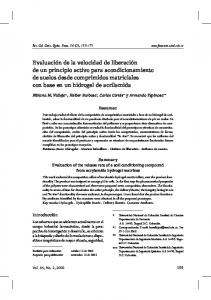 Resumen. Summary Evaluation of the release rate of a soil conditioning compound from acrylamide hydrogel matrixes