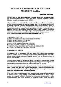 RESUMEN Y PROPUESTA DE HISTORIA MARXISTA VASCA