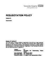 RESUSCITATION POLICY. Version 5.2. Resuscitation