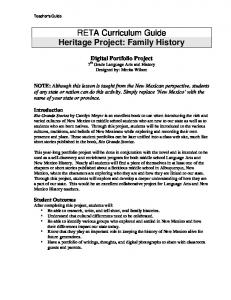 RETA Curriculum Guide Heritage Project: Family History