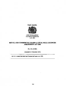 RETAIL AND COMMERCIAL LEASES (CASUAL MALL LICENCES) AMENDMENT ACT 2001