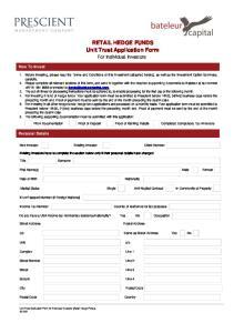 RETAIL HEDGE FUNDS Unit Trust Application Form