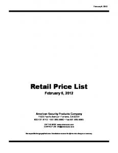 Retail Price List. February 6, 2012