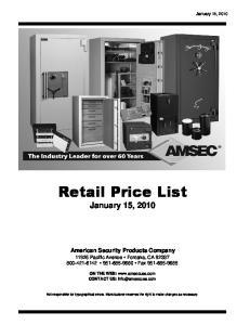 Retail Price List January 15, 2010