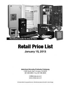 Retail Price List. January 15, American Security Products Company Pacific Ave Fontana, CA Fax: