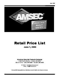Retail Price List. June 1, 2005