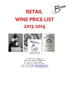 RETAIL WINE PRICE LIST