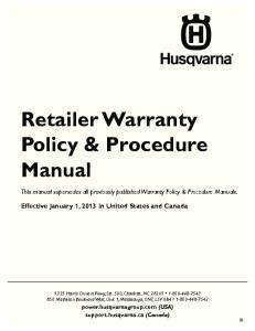 Retailer Warranty Policy & Procedure Manual