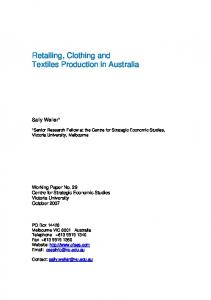 Retailing, Clothing and Textiles Production in Australia