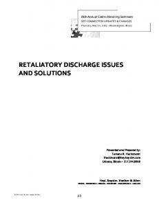 RETALIATORY DISCHARGE ISSUES AND SOLUTIONS