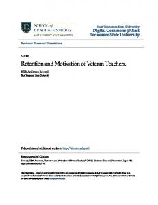 Retention and Motivation of Veteran Teachers