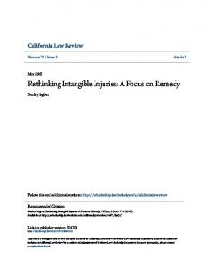 Rethinking Intangible Injuries: A Focus on Remedy