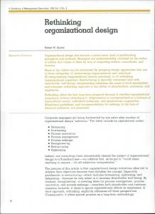 Rethinking organizational design