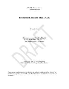 Retirement Annuity Plan (RAP)