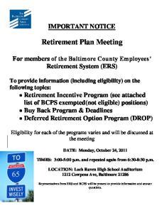 Retirement Plan Meeting