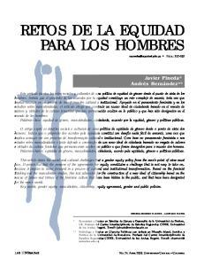 RETOS DE LA EQUIDAD PARA LOS HOMBRES