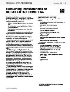 Retouching Transparencies on KODAK EKTACHROME Film