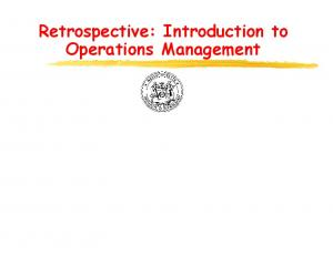 Retrospective: Introduction to Operations Management
