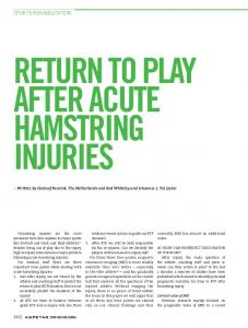 RETURN TO PLAY AFTER ACUTE HAMSTRING INJURIES