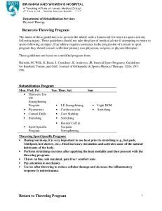 Return to Throwing Program