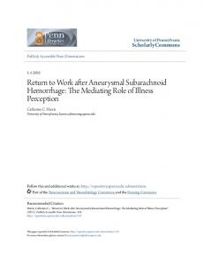 Return to Work after Aneurysmal Subarachnoid Hemorrhage: The Mediating Role of Illness Perception