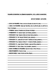 REUNIÃO ORDINÁRIA DA CÂMARA MUNICIPAL DE S. JOÃO DA MADEIRA