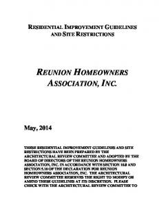 REUNION HOMEOWNERS ASSOCIATION, INC