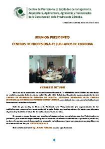 REUNION PRESIDENTES CENTROS DE PROFESIONALES JUBILADOS DE CORDOBA