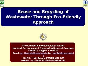 Reuse and Recycling of Wastewater Through Eco-Friendly Approach