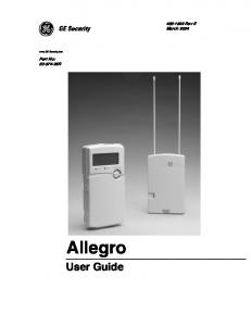 Rev E March 2004 ZZZ*(6HFXULW\FRP. Part No: R. Allegro. User Guide