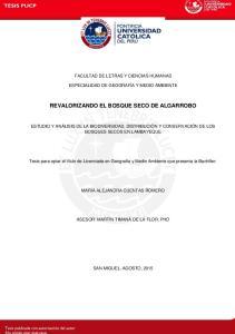 REVALORIZANDO EL BOSQUE SECO DE ALGARROBO