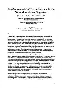 Revelaciones de la Neurociencia sobre la Naturaleza de los Negocios