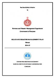 Revenue and Disaster Management Department. Government of Haryana BUS STAND DISASTER MANAGEMENT PLAN. Mewat