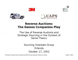 Reverse Auctions: The Games Companies Play