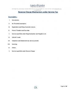 Reverse Charge Mechanism under Service Tax