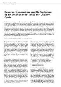 Reverse Generation and Refactoring of Fit Acceptance Tests for Legacy Code