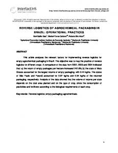 REVERSE LOGISTICS OF AGROCHEMICAL PACKAGING IN BRAZIL: OPERATIONAL PRACTICES