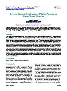 Reverse-Osmosis Desalination of Water Powered by Photo-Voltaic Modules