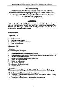 Revidierte Studienordnung Bachelorstudiengang Philosophie (Lesefassung)