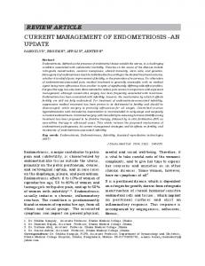 REVIEW ARTICLE CURRENT MANAGEMENT OF ENDOMETRIOSIS AN UPDATE