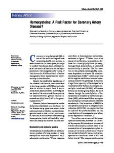 Review Article Homocysteine: A Risk Factor for Coronary Artery Disease?