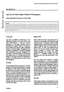 Review Article. Leg Ulcers In Older People: A Review Of Management. tion. Quality of life. Introduction