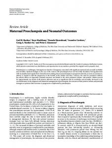 Review Article Maternal Preeclampsia and Neonatal Outcomes
