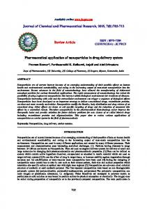 Review Article. Pharmaceutical application of nanoparticles in drug delivery system