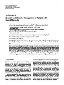 Review Article Recommendations for Management of Patients with Carotid Stenosis